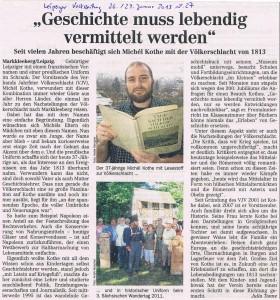 Presseartikel zur Person, Leipziger Volkszeitung, 26.+27. Januar 2013