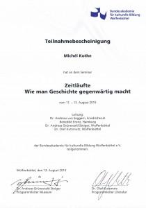 Qualifikation Weiterbildung Geschichtsvermittlung Wolfenbüttel, August 2010